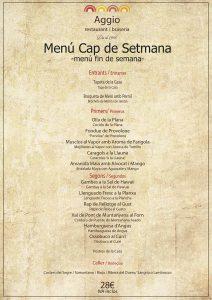 menu fin semana Aggio